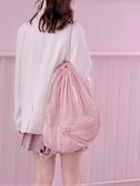 (快出)束口袋包eachy束口抽繩雙肩包女新款時尚超輕便旅遊背袋學生書包ins風