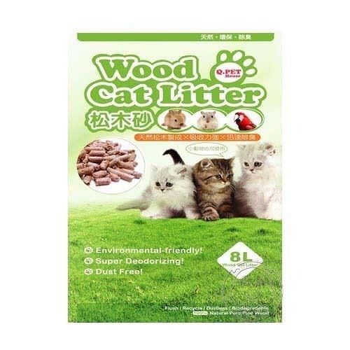 【培菓幸福寵物專營店】Q.PET Wood Cat Litter 松木砂 8L 貓/小動物適用(超取限1包)
