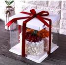 手提蛋糕保鮮盒 透明蛋糕盒6 8 4寸雙層加高蛋糕包裝盒方形塑料生日蛋糕包裝盒子