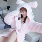 性感法蘭絨睡袍女士秋冬季睡衣長袖可愛浴袍加厚珊瑚絨家居服保暖