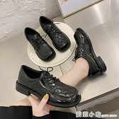 小皮鞋女英倫風軟皮新款夏秋季薄款方頭中跟系帶黑色漆皮單鞋 蘇菲小店