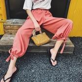 雪紡燈籠褲女夏季新款大尺碼寬鬆高腰側開叉休閒九分闊腿褲 S-L 【快速出貨】