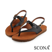 SCONA 全真皮 簡約編織夾腳涼鞋 黑色 31015-1