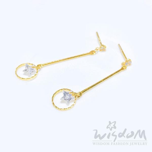 威世登 黃金鑲白石垂吊式耳環 情人節 金重約0.54~0.56錢 GF00516-AFXX-FIX