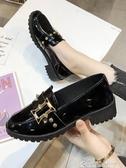 小皮鞋女秋季新款秋鞋英倫風百搭軟皮日繫平底黑色單鞋秋款 雙12購物節