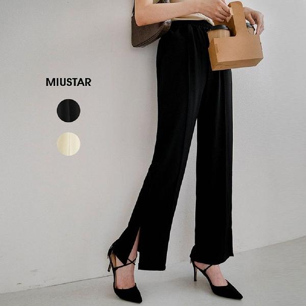 現貨-MIUSTAR 立體前車線側開衩鬆緊腰直筒西裝褲(共2色,M-L)【NJ1277】