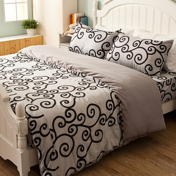 床包 / 雙人【里昂莊園黑】含兩件枕套  水蜜桃絲超細纖維  戀家小舖台灣製AAP201
