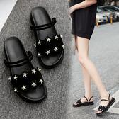涼鞋夏季新款厚底涼鞋女露趾中低跟羅馬風學生松糕涼鞋兩穿涼鞋女 印象部落