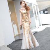 金色晚禮服裙女宴會高貴優雅長款端莊大氣亮片主持人魚尾 巴黎時尚