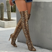 膝上靴 歐美性感夜店蟒蛇紋尖頭細跟鞋 過膝彈力大碼靴 偽娘女高跟鞋 店慶降價
