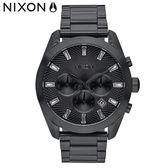 NIXON 手錶 原廠總代理A931-001 THE BULLET CHRONO CRYSTAL 魅力黑 潮流時尚鋼錶帶 生日情人節禮物
