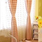 窗簾 格子現代粉色綠色田園韓式清新遮光簡約臥室飄窗簾成品落地窗宿舍 3色
