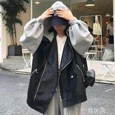 韓版原宿風寬鬆BF長袖連帽休閒皮衣女秋季新款PU皮開衫機車服外套 千惠衣屋