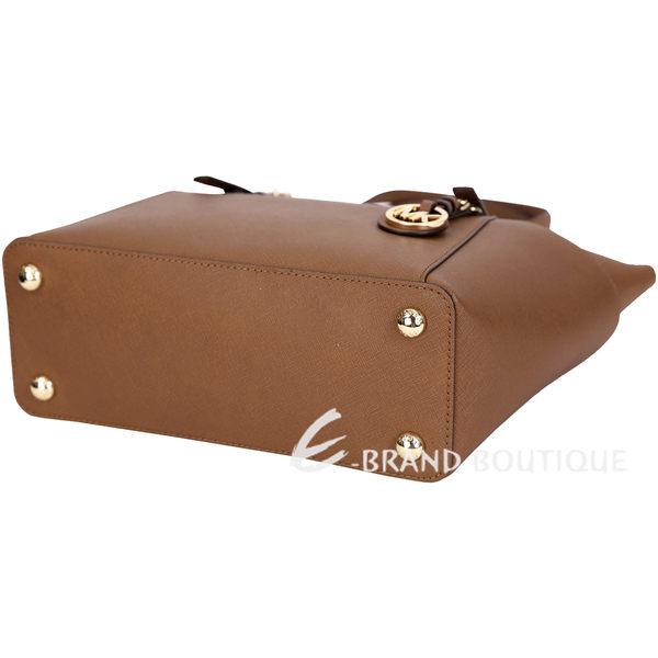 Michael Kors Jet Set Top-Zip 防刮牛皮肩背包(咖啡色) 1420152-B3