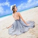 禮服洋裝女神洋裝超火裙子性感露背海邊度假沙灘裙吊帶裙仙女小禮服 流行花園