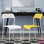 學生家用成人辦公塑料椅子凳現代簡約靠背懶人書桌電腦餐椅經濟型全館87折