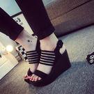 坡跟高跟涼鞋 女厚底羅馬鞋【多多鞋包店】z1647