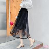 網紗裙 很仙的半身裙網紗小個子2020春季新款蕾絲拼接百褶裙高腰A字仙女