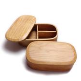 日式木質飯盒便當盒 創意分格木制壽司盒 長方形個性實木單層餐盒