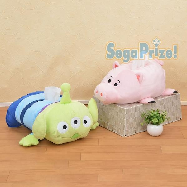 日本SEGA PLAZA 景品 玩具總動員 三眼怪/小豬 造型面紙套35*24cm