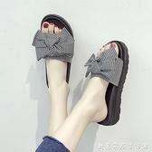 蝴蝶結拖鞋夏季外穿仙女風松糕厚底沙灘鞋女海邊涼拖鞋女新款