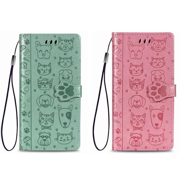 OPPO A72 貓狗壓紋 手機皮套 插卡 支架 壓紋 可掛繩 保護套