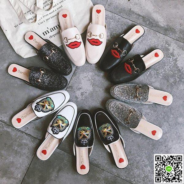 穆勒鞋 鞋子女2019新款包頭拖鞋平底女鞋刺繡馬銜扣懶人鞋穆勒鞋百搭涼拖 薇薇