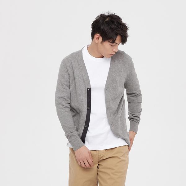 Gap男裝 簡約風格V領紐扣拉鍊針織衫 595018-石楠灰
