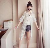EASON SHOP(GU5196)中長款豎條紋袖防曬衣圓領長袖襯衫外套內搭衫女上衣服素色長版春夏裝韓版寬鬆