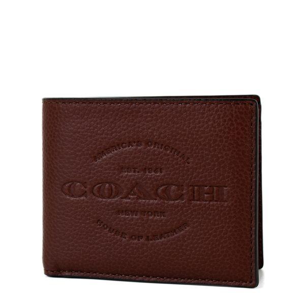 美國正品 COACH 男款 壓印LOGO牛皮八卡短夾-棕褐色【現貨】