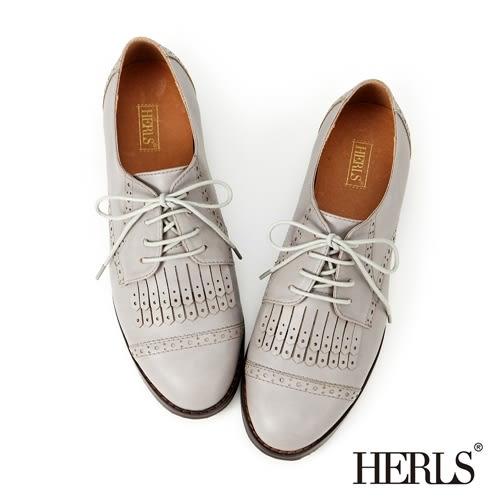 HERLS 牛津鞋 內真皮 復古英倫 流蘇女鞋-灰色