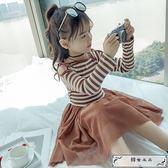女童春裝連衣裙2019新款兒童針織漏肩網紗裙小女孩洋氣條紋長袖裙