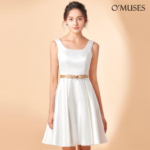 OMUSES 緞布簡約晚宴伴娘婚紗訂製白色短禮服