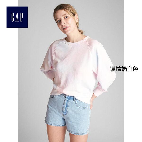 Gap女裝 柔軟毛圈布套頭圓領休閒上衣 335979-濃情奶白色