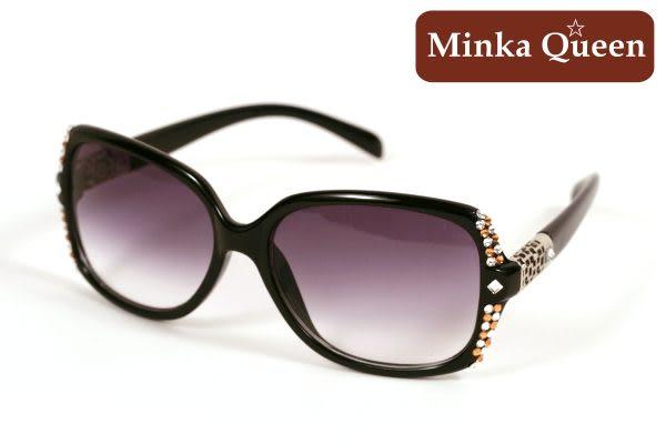 Minka Queen 極致黑框(抗UV400)施華洛世奇‧Swarovski‧水鑽太陽眼鏡(橘色)