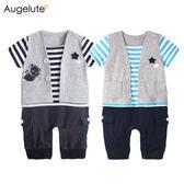 短袖連身衣 紳士 休閒 假三件 爬服 男寶寶 哈衣 Augelute Baby 61166