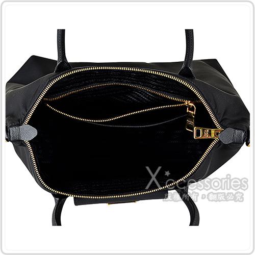 PRADA經典金三角鐵牌LOGO尼龍防刮牛皮飾邊拉鍊手提斜背包(黑)