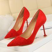 高跟鞋 時尚女鞋黑色高跟鞋百搭尖頭細跟紅色婚鞋