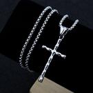 鈦鋼竹節造型十字架項鍊(附鈦鋼方格鏈)