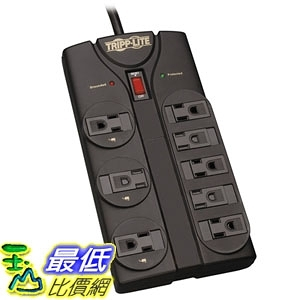 [7美國直購] 延長線 Tripp Lite 8 Outlet Surge Protector Power Strip, 8ft Cord Right Angle Plug (TLP808B)