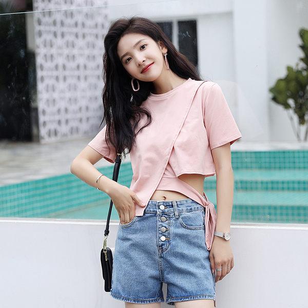 VK精品服飾 韓國學院風不規則露腰性感時尚T恤短袖上衣