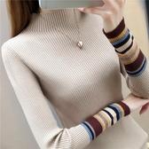 長袖針織上衣 半高領打底衫毛衣女士內搭長袖厚秋冬新款修身緊身上衣針織衫『快速出貨』