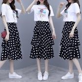 連身裙 2020新款大碼連衣裙夏季流行裙子女裝波點a字裙套裝裙短袖兩件套【快速出貨八折】