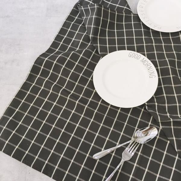 餐桌布 桌巾 TOOKI & CO【Z438053】無印風簡約格紋造型餐桌布/茶几方巾布/蓋布/桌巾(正方)-Alluring