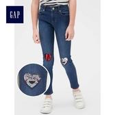 Gap女童 休閒彈力中腰雙面亮片緊身牛仔褲 489220-閃亮心形裝飾