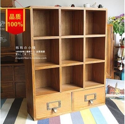 zakka復古雜貨做舊木質桌面收納盒創意實木分類化妝品收納櫃