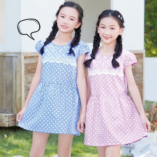 藍 大童 質感蕾絲點點藍條紋洋裝 春夏童裝 女童洋裝 女童長版 女童連身裙 女童傘裙