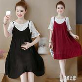 孕婦洋裝 兩件式套裝連身裙 短袖蕾絲雪紡時尚中長款裙子女裝夏季 DR20531【彩虹之家】