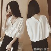 心機上衣春新款v領白色雪紡襯衫超仙女范洋氣小眾設計感心機輕熟上衣 蘿莉小腳丫