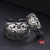戒指男 饕餮戒指男女情侶款復古做舊個性指環日韓簡約開口神獸戒子潮 多款可選